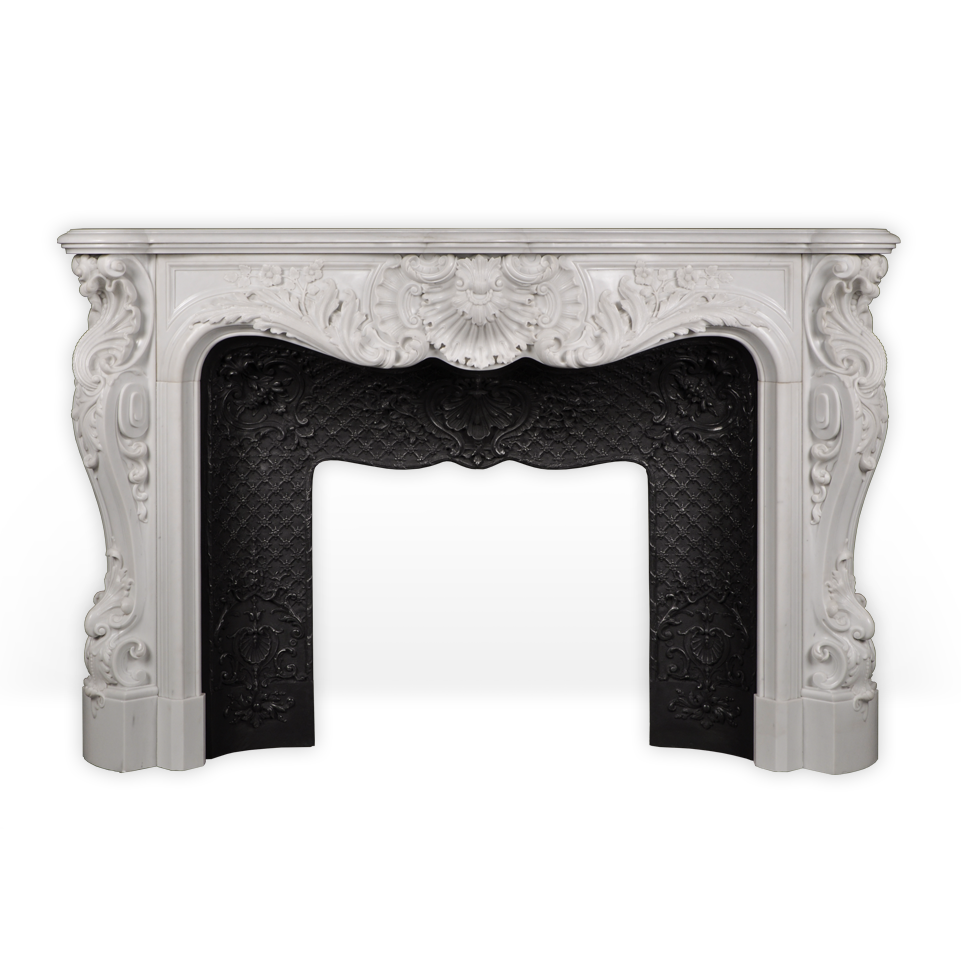Palais Bourbon is an exceptional custom-made marble fireplace of Louis XV style