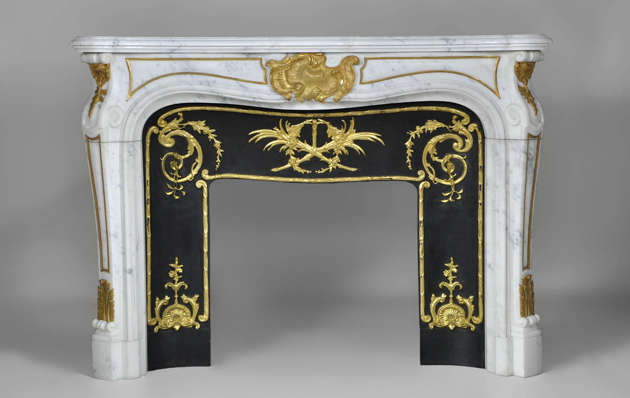 Comtesse de Vintimille is a superb custom made marble fireplace of Louis XV style with gilded bronze ornaments.