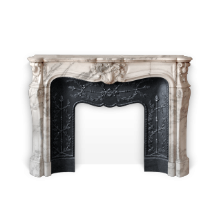 Duc de Bourgogne is a beautiful Louis XV style custom-made marble fireplace.