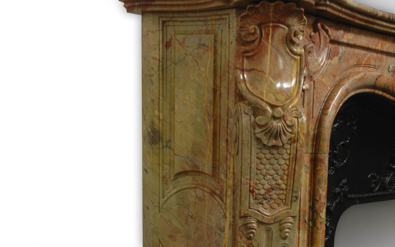 Ducs de Nantes mantel is an extraordinary and monumental custom-made marble mantel of Louis XV style.