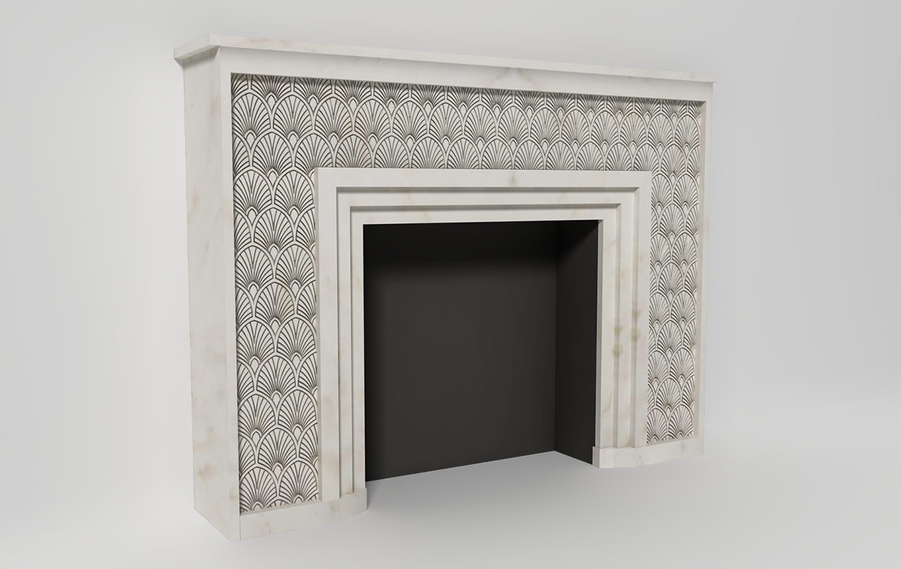 Flower power art deco fireplace made to measure in for Decoration maison art deco