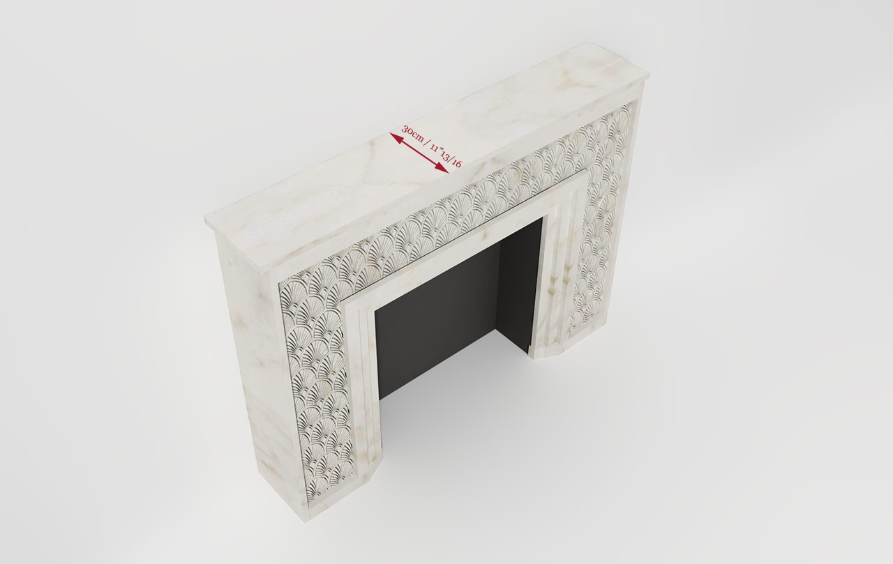 Maison & Maison, designers and creators of contemporary fireplaces in carved marble,  present the art deco model of made-to-measure fireplace: Flower Power