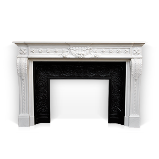 Juliette Recamier is a custom-made marble fireplace of Louis XVI style with beautiful sculptures.