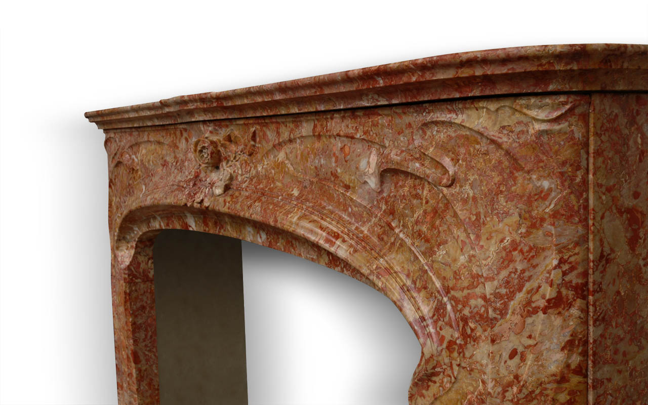 Liberty is a custom made marble fireplace of Art Nouveau style. This fireplace is made after an antique fireplace model.