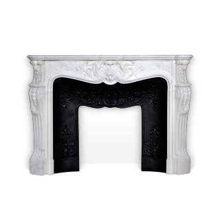 Marquise de Tournelle is a very beautiful custome-made Louis XV style fireplace with opulent carved details.