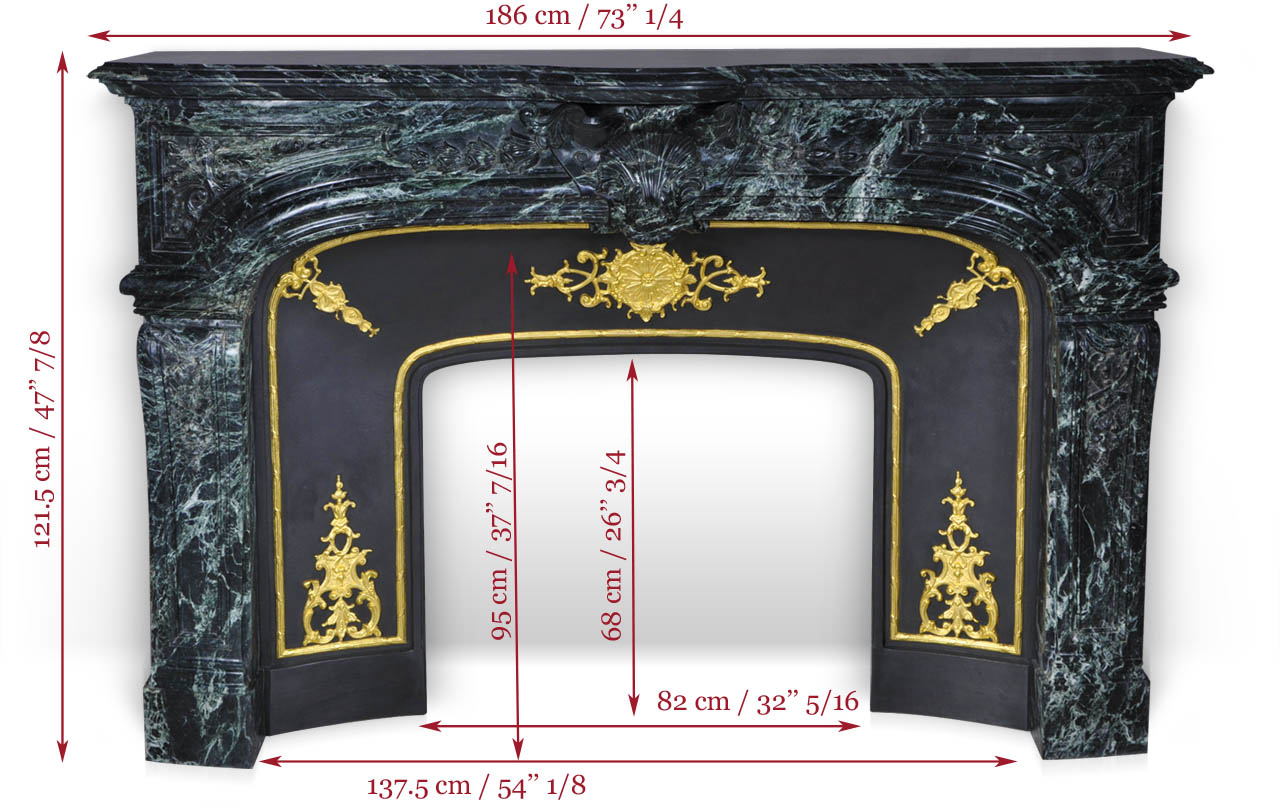 The Noailles fireplace is a highly sophisticated custom-made Regence style model made out of marble