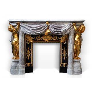 Opera is an exceptional marble custom-made fireplace of Napoleon III style with gilded bronze putti decor.