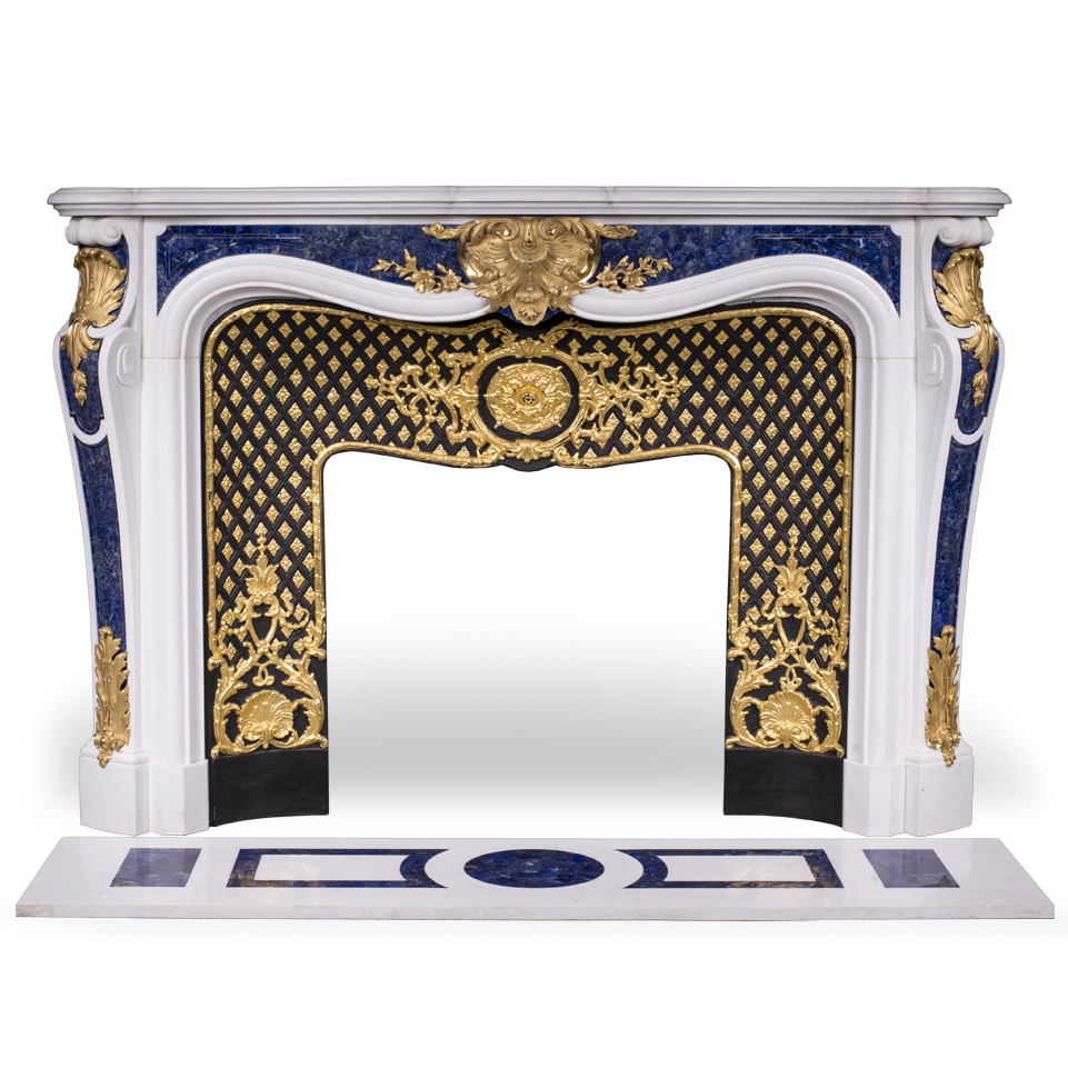 Païva is an expetional custom made marble fireplace of Louis XV style with gilded bronze ornaments and Lapis lazuli inlays.  Manufactured by Maison & Maison.