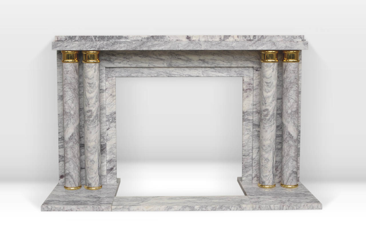 paquebot art deco style custom made marble fireplace decorated