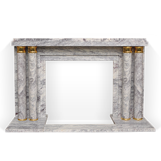 Paquebot is an Art Deco style custom-made marble fireplace decorated with a pair of double columns with gilded bronze ornaments.