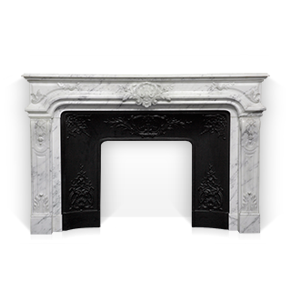 The Vendome fireplace is a custom-made Regence style marble mantel that combines sophistication and elegance.