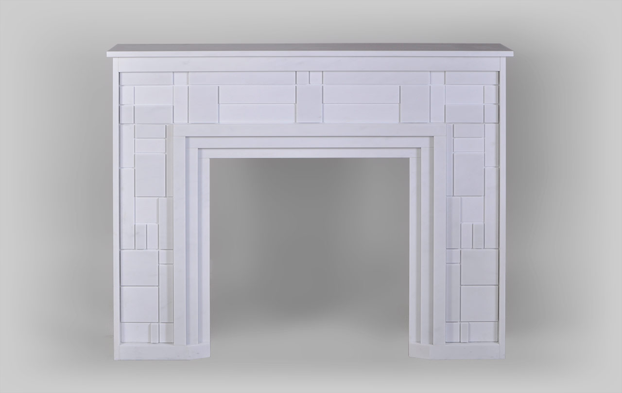 This modern fireplace is made out of Blanc P marble, with smooth, modern outlines, draws on Piet Mondrian's abstract art. Its defined structure and straight lines give the fireplace a balanced composition. It is decorated with an orthogonal grid of different shapes and sizes.The sculpture done on the many marble layers and finishes creates varied reliefs and colors, as light is reflected differently on the rectangles.The optional LED panels can be set on the back of the fireplace to bring out the transparency and finesse of the work on the marble.