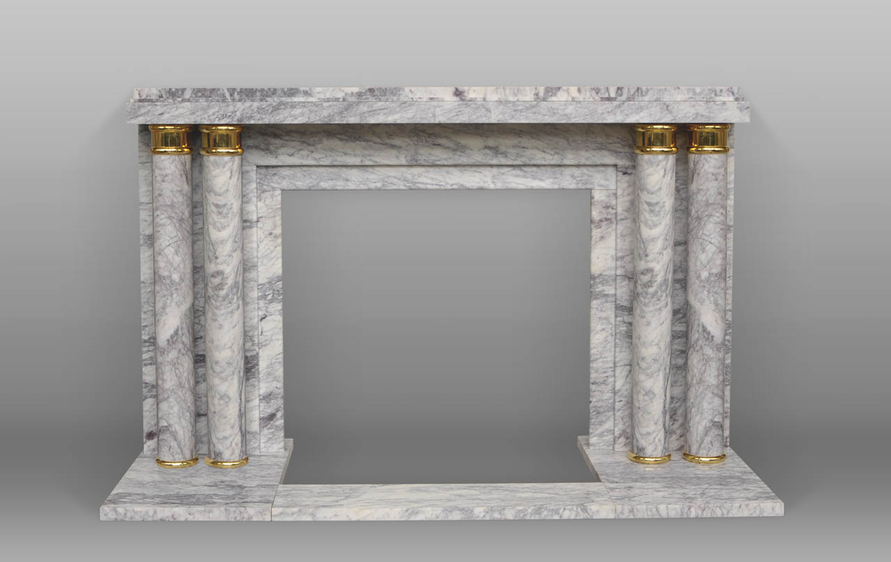 paquebot art deco style fireplace with columns made out of lilas marble. Black Bedroom Furniture Sets. Home Design Ideas
